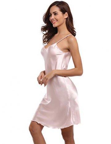 Aibrou Damen Sexy Negligee Nachthemd Satin Nachtkleid Nachtwäsche Unterwäsche Sleepwear Kurz Trägerkleid V Ausschnitt Rosa XXXL - 8