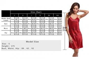 Aibrou Damen Sexy Negligee Nachthemd Satin Nachtkleid Nachtwäsche Unterwäsche Sleepwear Kurz Trägerkleid V Ausschnitt Rosa XXXL - 9