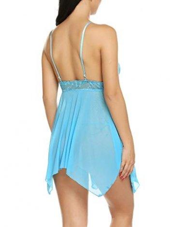 Avidlove Sexy Negligee Babydoll Unregelmäßiger Hem Nachtwäsche Spitze Dessous Kleid Nachthemd Lingerie Nachtkleid Reizwäsche G-String Sleepwear, Blau, XL - 5