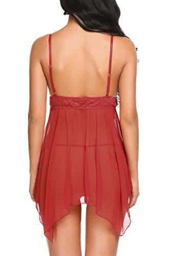 Avidlove Sexy Negligee Babydoll Unregelmäßiger Hem Nachtwäsche Spitze Dessous Kleid Nachthemd Lingerie Nachtkleid Reizwäsche G-String Sleepwear, A Rot, XL - 3