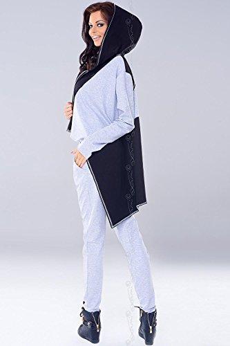 Axami VU-0007 Trendige Hosen Für Frauen, Im Sport Look, Made In EU (Siehe VU-0009 Cardigan), Grau,L - 3