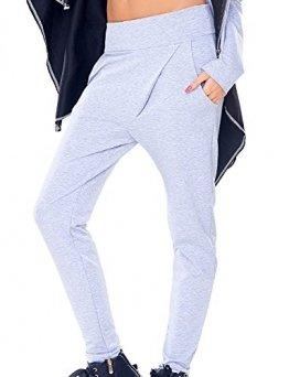 Axami VU-0007 Trendige Hosen Für Frauen, Im Sport Look, Made In EU (Siehe VU-0009 Cardigan), Grau,L - 1
