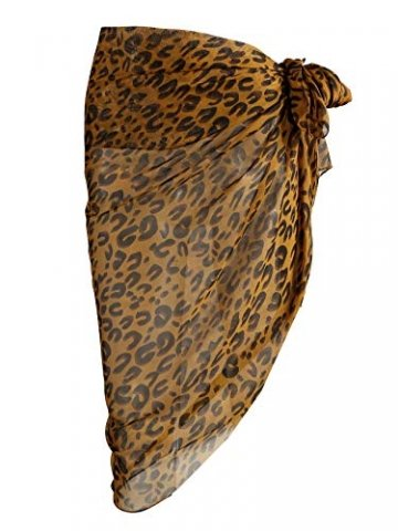 CHIC DIARY Chiffon Strandschal Wickelrock Sommer Damen Sexy Bikini Cover Up Sarong Pareo Strandtuch Leopard Muster Wickeltuch - 3