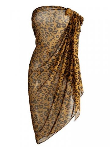CHIC DIARY Chiffon Strandschal Wickelrock Sommer Damen Sexy Bikini Cover Up Sarong Pareo Strandtuch Leopard Muster Wickeltuch - 1
