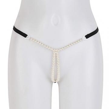 CHICTRY Damen Slip String Tanga Perlenstring Micro String Ouvertslip Höschen Unterhose mit Ketten (X Schwarz, One Size) - 3
