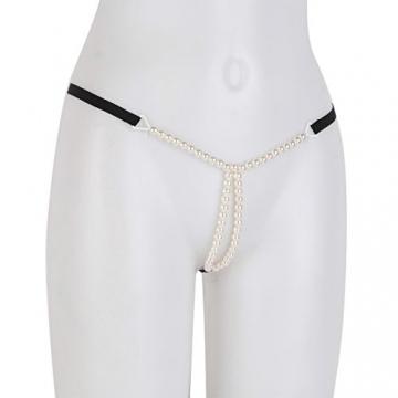 CHICTRY Damen Slip String Tanga Perlenstring Micro String Ouvertslip Höschen Unterhose mit Ketten (X Schwarz, One Size) - 4