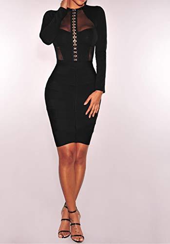 comeondear Damen Spitzenbody V-Ausschnitt Sexy Durchsichtige Bluse Langarmbody Reizwäsche Oberteil Party Große Größe mit Verschluss im Schritt(Schwarz 3,4XL-5XL) - 2