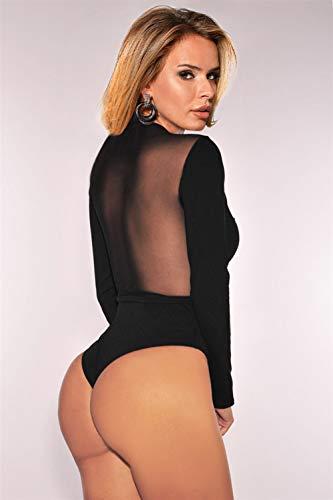 comeondear Damen Spitzenbody V-Ausschnitt Sexy Durchsichtige Bluse Langarmbody Reizwäsche Oberteil Party Große Größe mit Verschluss im Schritt(Schwarz 3,4XL-5XL) - 5