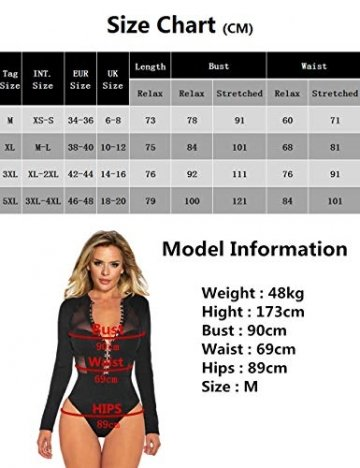 comeondear Damen Spitzenbody V-Ausschnitt Sexy Durchsichtige Bluse Langarmbody Reizwäsche Oberteil Party Große Größe mit Verschluss im Schritt(Schwarz 3,4XL-5XL) - 7