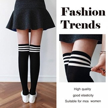 Damen Kniestrümpfe - Overknee Strümpfe Streifen Lange Socken Retro Knitting Strümpfe Mädchen Cheerleader Sportsocken Baumwollstrümpfe, Black Schwarz-weiß-grau, Durchschnittlicher Code - 4