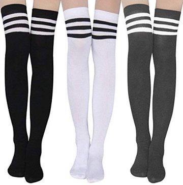 Damen Kniestrümpfe - Overknee Strümpfe Streifen Lange Socken Retro Knitting Strümpfe Mädchen Cheerleader Sportsocken Baumwollstrümpfe, Black Schwarz-weiß-grau, Durchschnittlicher Code - 1