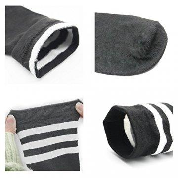 Damen Kniestrümpfe - Overknee Strümpfe Streifen Lange Socken Retro Knitting Strümpfe Mädchen Cheerleader Sportsocken Baumwollstrümpfe, Black Schwarz-weiß-grau, Durchschnittlicher Code - 5