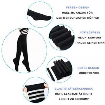 Damen Kniestrümpfe - Overknee Strümpfe Streifen Lange Socken Retro Knitting Strümpfe Mädchen Cheerleader Sportsocken Baumwollstrümpfe, Black Schwarz-weiß-grau, Durchschnittlicher Code - 6