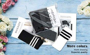 Damen Kniestrümpfe - Overknee Strümpfe Streifen Lange Socken Retro Knitting Strümpfe Mädchen Cheerleader Sportsocken Baumwollstrümpfe, Black Schwarz-weiß-grau, Durchschnittlicher Code - 8