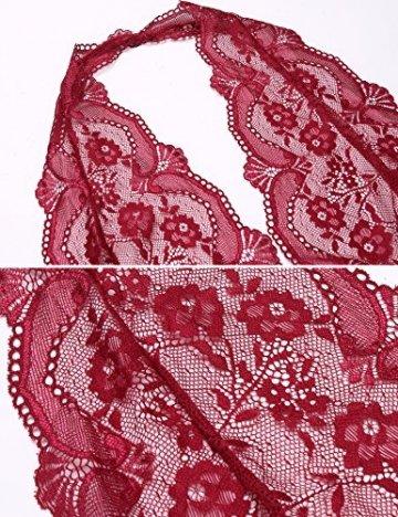 Damen Sexy Spitze Chemise Dessous Set Nachtkleid Chemise Bodysuit Transparent Nachthemd Negligee Nachtwäsche Reizwäsche Babydoll Unterwäsche Lingerie Spitzenkleid erotik (M, C-Weinrot) - 6