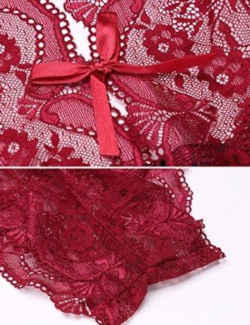 Damen Sexy Spitze Chemise Dessous Set Nachtkleid Chemise Bodysuit Transparent Nachthemd Negligee Nachtwäsche Reizwäsche Babydoll Unterwäsche Lingerie Spitzenkleid erotik (M, C-Weinrot) - 7
