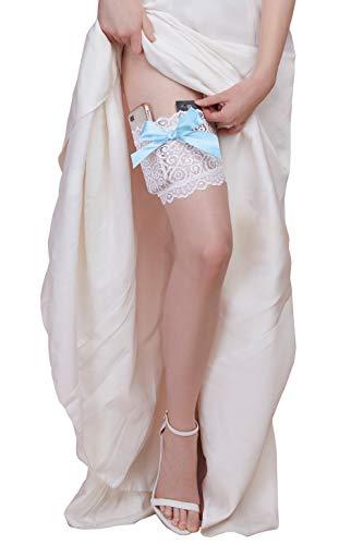 Dreamgirl Damen Lace Garter Wallet with Pockets for Phone and Credit Card Kreditkartenhalter, weiß/blau, Small/Medium - 2