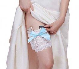 Dreamgirl Damen Lace Garter Wallet with Pockets for Phone and Credit Card Kreditkartenhalter, weiß/blau, Small/Medium - 1