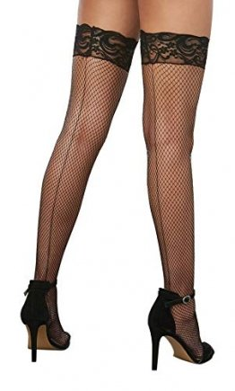Dreamgirl Women's Milan Fishnet Thigh High Stockings, Black, One Size - 1
