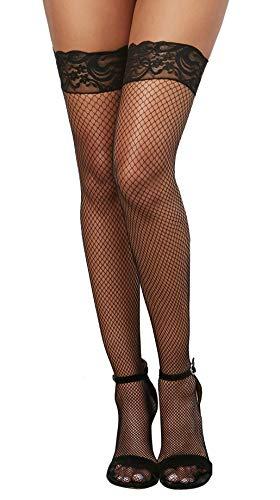 Dreamgirl Women's Milan Fishnet Thigh High Stockings, Black, One Size - 2