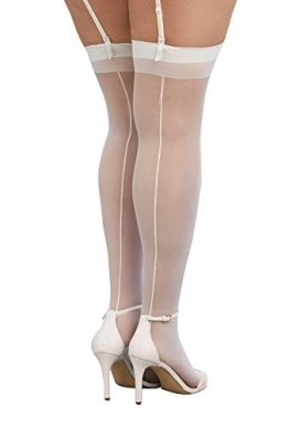 Dreamgirl Women's Plus-Size Moulin Thigh High Stockings, White, One Size Queen - 1