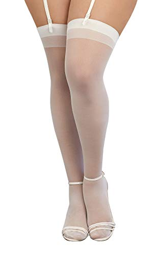 Dreamgirl Women's Plus-Size Moulin Thigh High Stockings, White, One Size Queen - 3