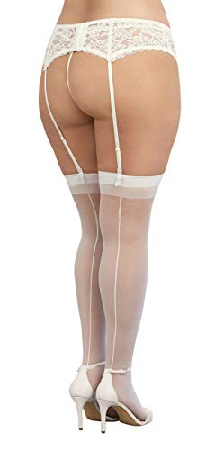 Dreamgirl Women's Plus-Size Moulin Thigh High Stockings, White, One Size Queen - 5