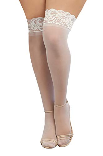 Dreamgirl Women's Plus-Size Tuscany Thigh High Stockings, White, One Size Queen - 1