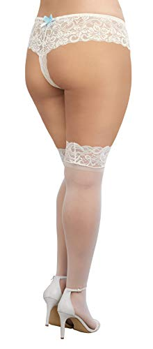 Dreamgirl Women's Plus-Size Tuscany Thigh High Stockings, White, One Size Queen - 2