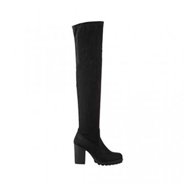 Elara Damen Stiefel Overknee High Heels Absatz Chunkyrayan E4835 Black-38 - 3