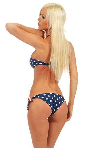 Fashion4Young 5565 Damen Sexy Bandeau Neckholder Bikini Stars & Stripes USA (USA, M-38) - 3