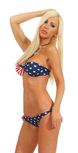 Fashion4Young 5565 Damen Sexy Bandeau Neckholder Bikini Stars & Stripes USA (USA, M-38) - 4