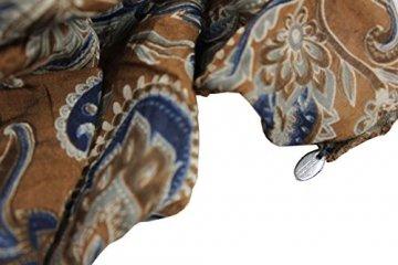 FERETI Braun blau casmir print wertvolles luxus seidenschal - 2