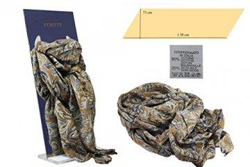 FERETI Braun blau casmir print wertvolles luxus seidenschal - 7