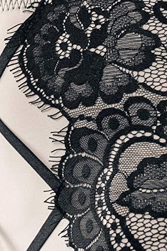 Grey Velvet 3-teiliges Lingerie-Straps-Set Frauen Wäsche-Set schwarz/beige L - 2