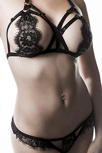 Grey Velvet Damen Erotik-BH-Set S - 2