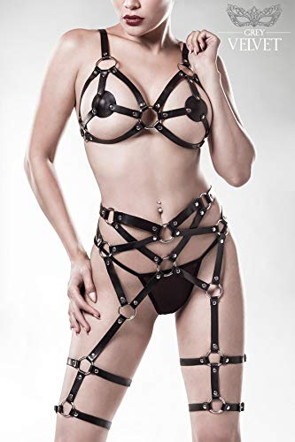 Grey Velvet Damen Erotik-Set Harness S/M - 7