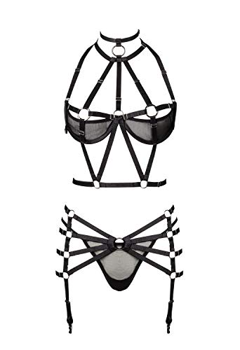 Grey Velvet Damen Harness-Dessous-Set XL/XXL - 1