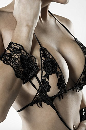 Grey Velvet - exklusives BH-Set Spitze inkl. String - schwarz Gelenkbändern und Maske XS-L - 6