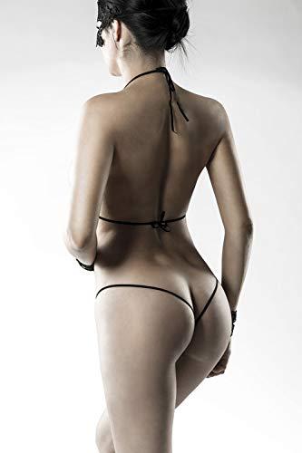 Grey Velvet - exklusives BH-Set Spitze inkl. String - schwarz Gelenkbändern und Maske XS-L - 8