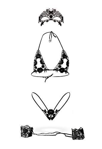 Grey Velvet - exklusives BH-Set Spitze inkl. String - schwarz Gelenkbändern und Maske XS-L - 1