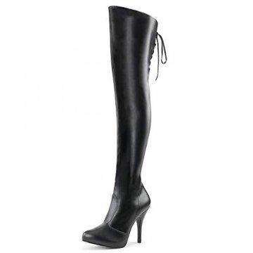Higher-Heels Pink Label Overknee Stiefel Eve-312 Mattschwarz Gr. 47 - 1
