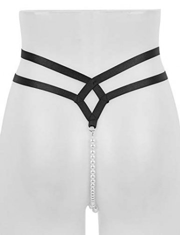 iixpin Damen Perlenstring Ouvert Strings Tanga Mini Bikini Slip Frauen Unterhosen mit Perlenkette T-Back Dessous Clubwear Schwarz(Typ A) Einheitsgröße - 2