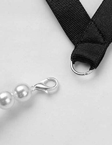 iixpin Damen Perlenstring Ouvert Strings Tanga Mini Bikini Slip Frauen Unterhosen mit Perlenkette T-Back Dessous Clubwear Schwarz(Typ A) Einheitsgröße - 4
