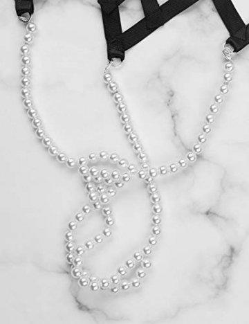 iixpin Damen Perlenstring Ouvert Strings Tanga Mini Bikini Slip Frauen Unterhosen mit Perlenkette T-Back Dessous Clubwear Schwarz(Typ A) Einheitsgröße - 7