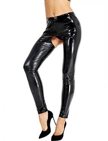 iixpin Damen Wetlook Leggings Stretch PU Lederhose Glänzend Ouvert-Hose Kunstleder Slim Schwarz Smooth Hose S-XL Schwarz M - 1