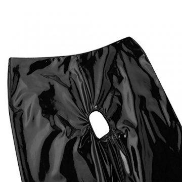 iixpin Damen Wetlook Leggings Stretch PU Lederhose Glänzend Ouvert-Hose Kunstleder Slim Schwarz Smooth Hose S-XL Schwarz M - 5