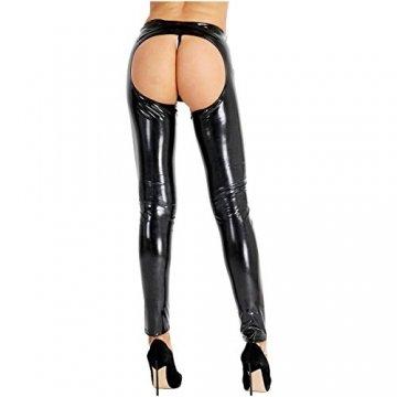 iixpin Damen Wetlook Leggings Stretch PU Lederhose Glänzend Ouvert-Hose Kunstleder Slim Schwarz Smooth Hose S-XL Schwarz M - 6