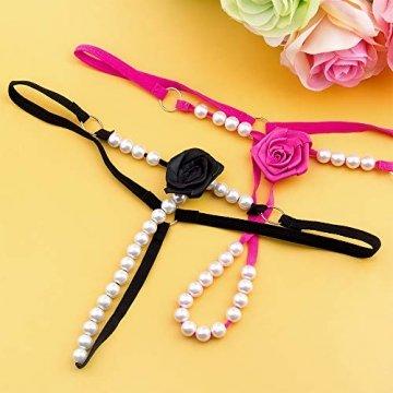 Joeyer 6 pcs Damen String Tangas Schwarz Unterwäsche mit Spitze Perle - 6