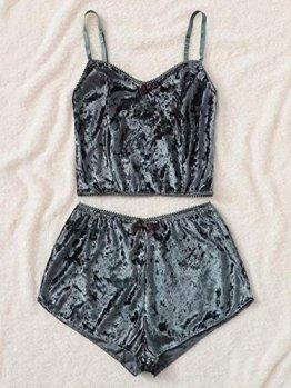 LSJSN Schlafanzug Frauen Sexy Velvet Zweiteiliges Dessous Top + Shorts Nachtwäsche Spitze Nachtwäsche Unterwäsche Pyjama Chemise Sets-Grey_L - 1